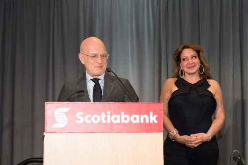 honoured couple standing at podium at gala